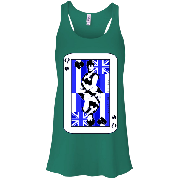 The Queen of Hawai'i Liliuokalani (blue ink) Racerback Tank, T-Shirts, Hawaii Nei All Day