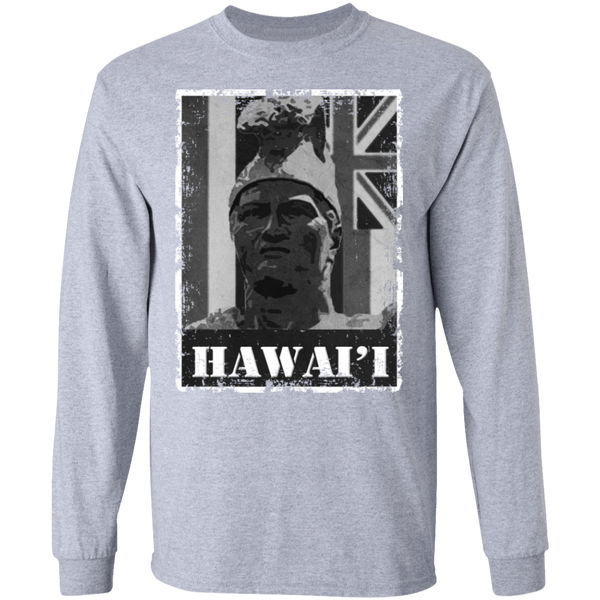 Hawai'i King Kamehameha (B&W) LS T-Shirt, T-Shirts, Hawaii Nei All Day