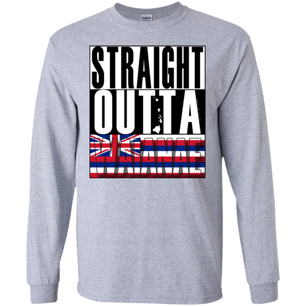 Straight Outta Waianae Hawai'i LS Ultra Cotton T-Shirt, T-Shirts, Hawaii Nei All Day