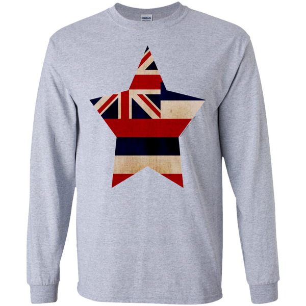 Hawaiian Star LS Ultra Cotton T-Shirt, T-Shirts, Hawaii Nei All Day, Hawaii Clothing Brands