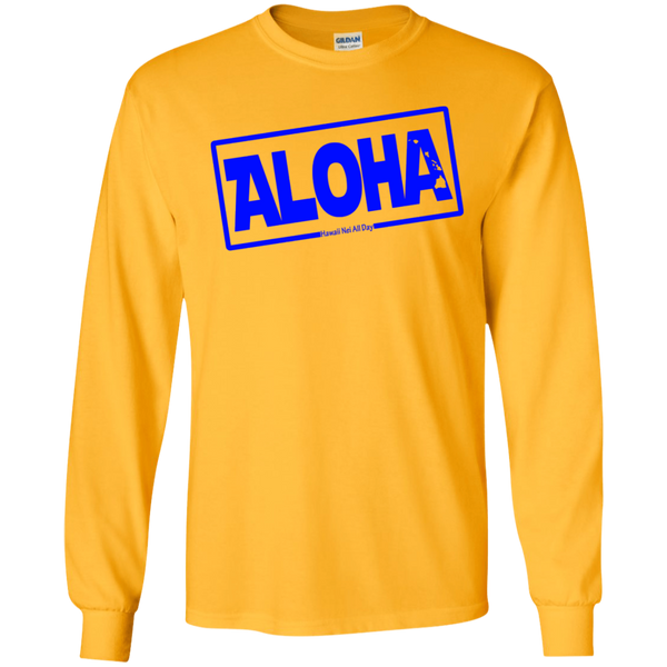 Aloha Hawai'i Nei (Islands blue ink) LS Ultra Cotton T-Shirt, T-Shirts, Hawaii Nei All Day