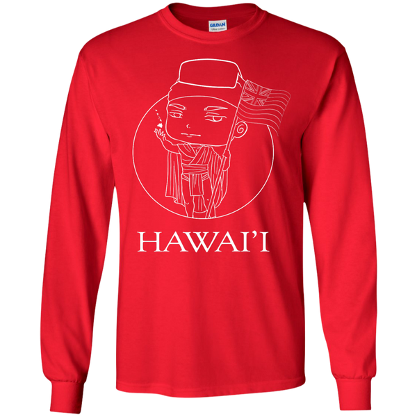 Hawai'i (chibi style King Kamehameha) LS Ultra Cotton Tshirt - Hawaii Nei All Day