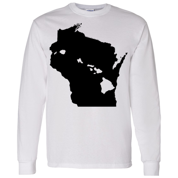 Living in Wisconsin with Hawaii Roots LS T-Shirt 5.3 oz., T-Shirts, Hawaii Nei All Day, Hawaii Clothing Brands