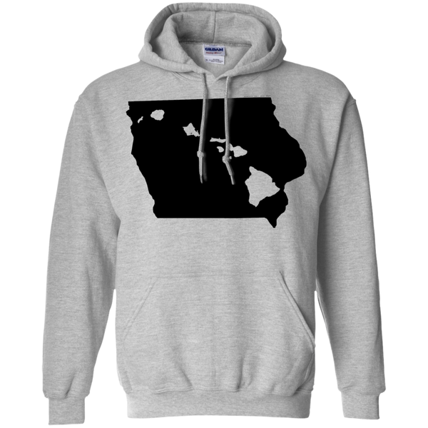 Living in Iowa with Hawaii Roots Pullover Hoodie 8 oz., Sweatshirts, Hawaii Nei All Day