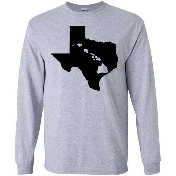 Living In Texas With Hawaii Roots LS Ultra Cotton Tshirt, Long Sleeve, Hawaii Nei All Day, Hawaii Clothing Brands
