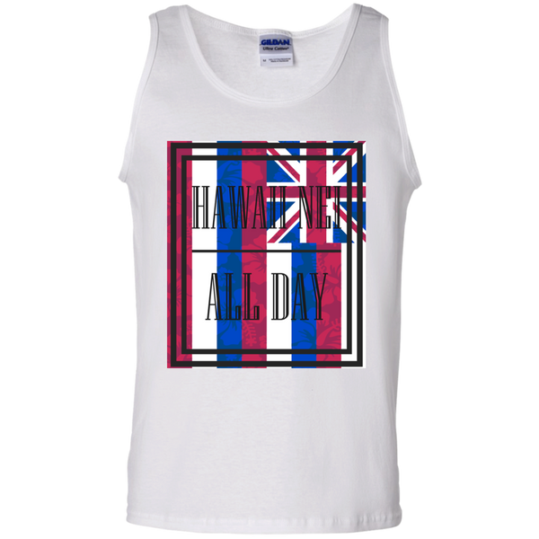 Hawai'i Floral Flag 100% Cotton Tank Top, T-Shirts, Hawaii Nei All Day, Hawaii Clothing Brands