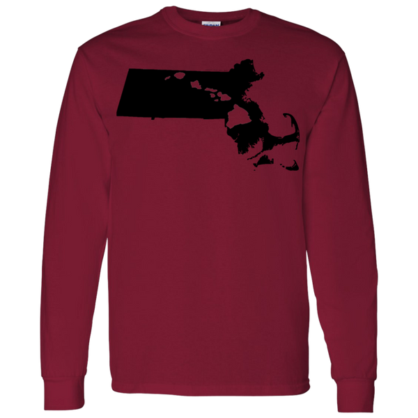 Living in Massachusetts with Hawaii Roots LS T-Shirt 5.3 oz., T-Shirts, Hawaii Nei All Day, Hawaii Clothing Brands