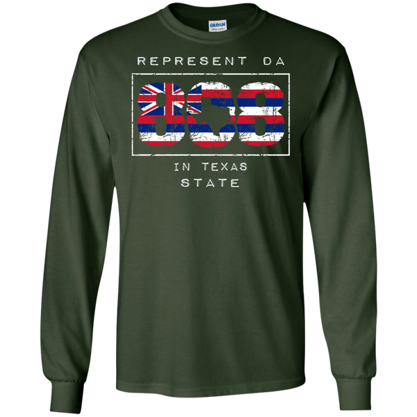 Rep Da 808 In Texas State LS Ultra Cotton T-Shirt, T-Shirts, Hawaii Nei All Day