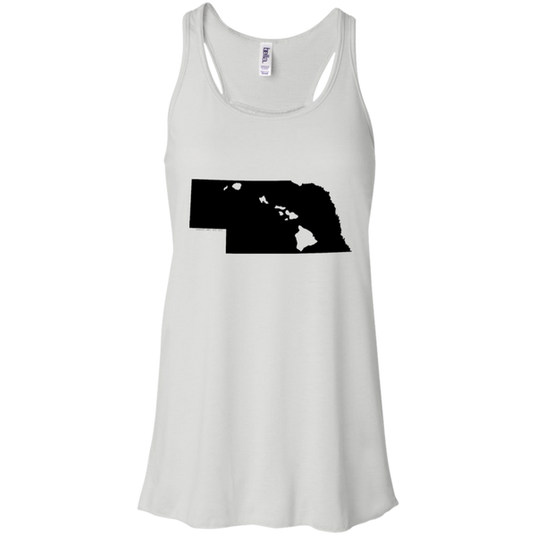 Living in Nebraska with Hawaii Roots Bella + Canvas Flowy Racerback Tank, T-Shirts, Hawaii Nei All Day