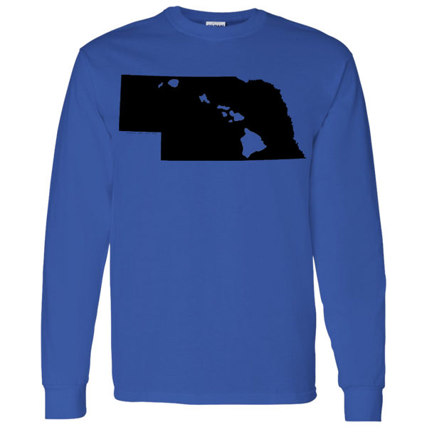 Living in Nebraska with Hawaii Roots LS T-Shirt 5.3 oz., T-Shirts, Hawaii Nei All Day, Hawaii Clothing Brands