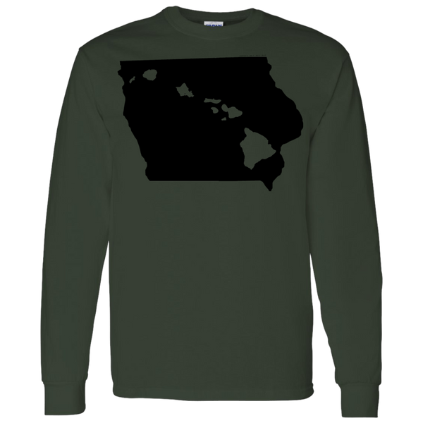 Living in Iowa with Hawaii Roots LS T-Shirt 5.3 oz., T-Shirts, Hawaii Nei All Day, Hawaii Clothing Brands