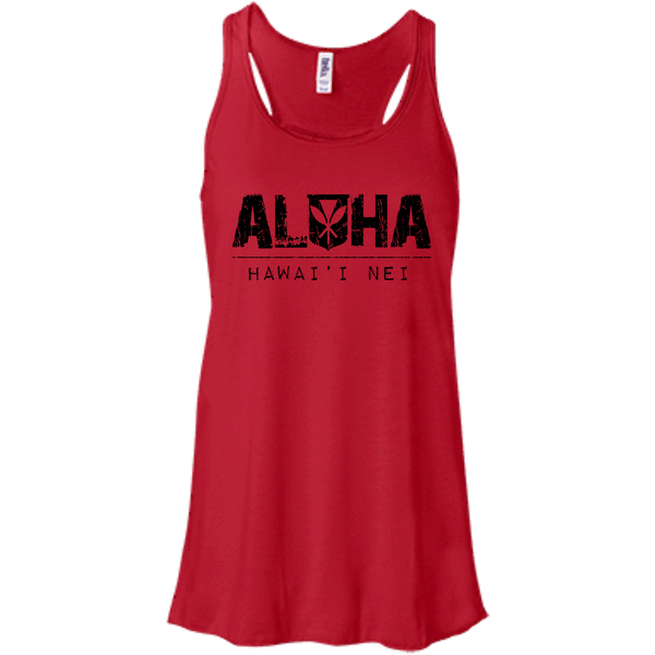 Aloha Hawai'i Nei Bella + Canvas Flowy Racerback Tank, T-Shirts, Hawaii Nei All Day