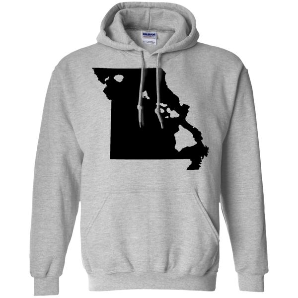 Living in Missouri with Hawaii Roots Pullover Hoodie 8 oz., Sweatshirts, Hawaii Nei All Day
