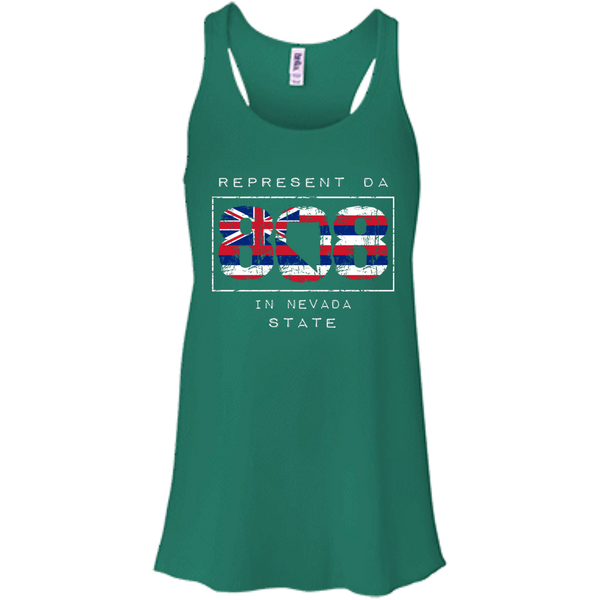 Represent Da 808 In Nevada State Bella+Canvas Flowy Racerback Tank - Hawaii Nei All Day