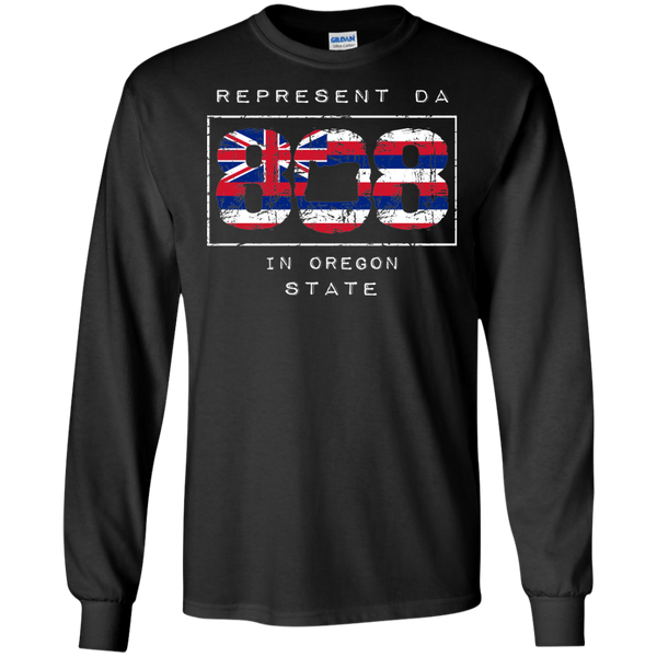Rep Da 808 In Oregon State LS Ultra Cotton T-Shirt, T-Shirts, Hawaii Nei All Day