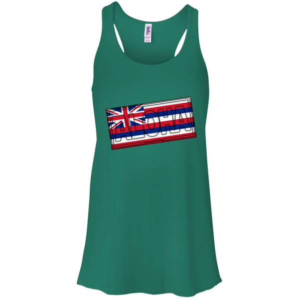 Aloha Hawai'i Flag Bella + Canvas Flowy Racerback Tank, T-Shirts, Hawaii Nei All Day