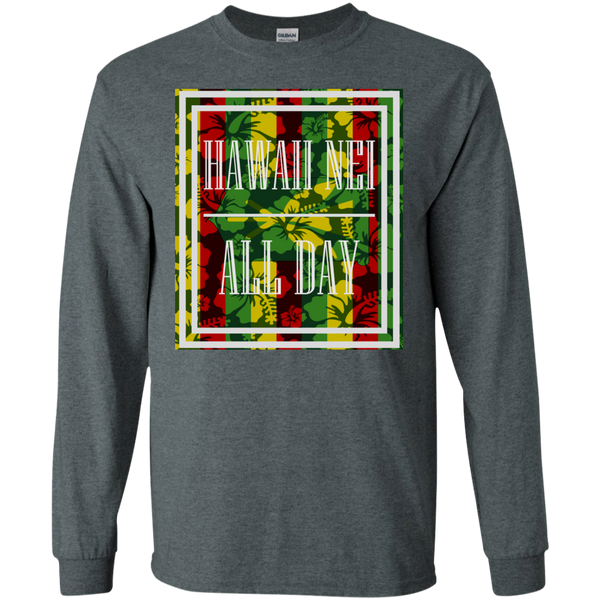 Hawai'i Floral Kanaka Maoli LS Ultra Cotton T-Shirt, T-Shirts, Hawaii Nei All Day