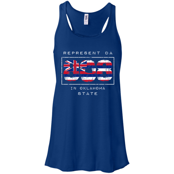 Rep Da 808 In Oklahoma State Bella + Canvas Flowy Racerback Tank, T-Shirts, Hawaii Nei All Day