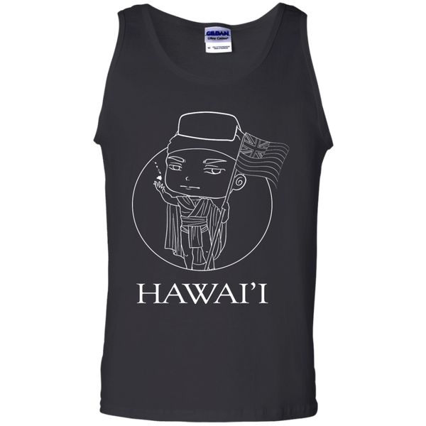 Hawai'i (chibi style King Kamehameha) 100% Cotton Tank Top, Sleeveless, Hawaii Nei All Day, Hawaii Clothing Brands