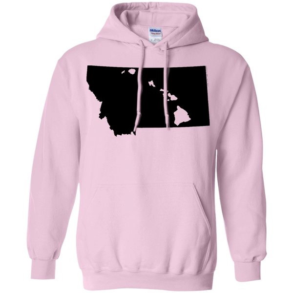 Living in Montana with Hawaii Roots Pullover Hoodie 8 oz., Sweatshirts, Hawaii Nei All Day