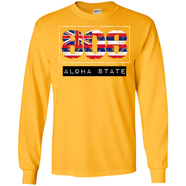 808 Aloha State LS Ultra Cotton Tshirt, Long Sleeve, Hawaii Nei All Day, Hawaii Clothing Brands