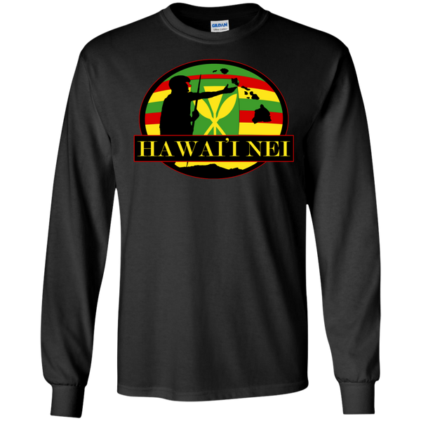 Hawai'i Nei Kanaka Maoli LS Ultra Cotton Tshirt, Long Sleeve, Hawaii Nei All Day