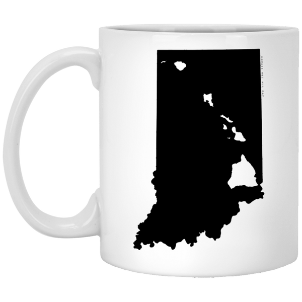 Indiana and Hawaii Roots White Mug, Apparel, Hawaii Nei All Day