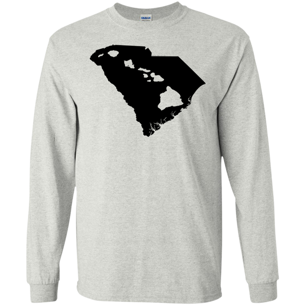 Living In South Carolina With Hawaii Roots LS Ultra Cotton Tshirt - Hawaii Nei All Day