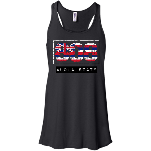 808 Aloha State Bella+Canvas Flowy Racerback Tank, , Hawaii Nei All Day, Hawaii Clothing Brands