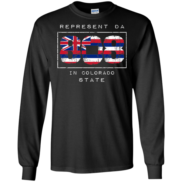 Rep Da 808 In Colorado State LS Ultra Cotton T-Shirt, T-Shirts, Hawaii Nei All Day