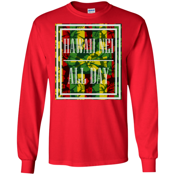 Hawai'i Floral Kanaka Maoli LS Ultra Cotton T-Shirt, T-Shirts, Hawaii Nei All Day, Hawaii Clothing Brands