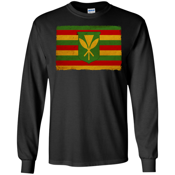 Kanaka Maoli Flag LS Ultra Cotton Tshirt, Long Sleeve, Hawaii Nei All Day