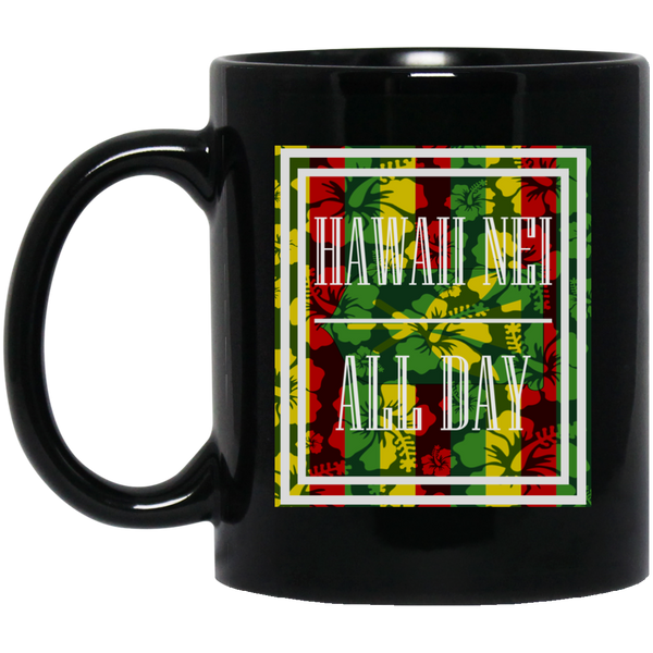 Hawai'i Floral Kanaka Maoli 11 oz. Black Mug, Drinkware, Hawaii Nei All Day, Hawaii Clothing Brands