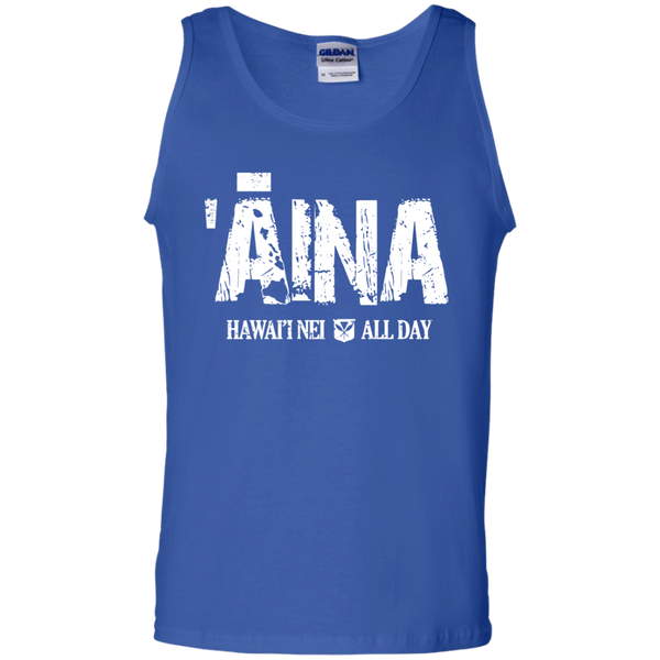 ʻĀina Hawai'i Nei All Day (white ink) 100% Cotton Tank Top, T-Shirts, Hawaii Nei All Day