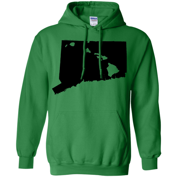 Living in Connecticut with Hawaii Roots Pullover Hoodie 8 oz., Sweatshirts, Hawaii Nei All Day
