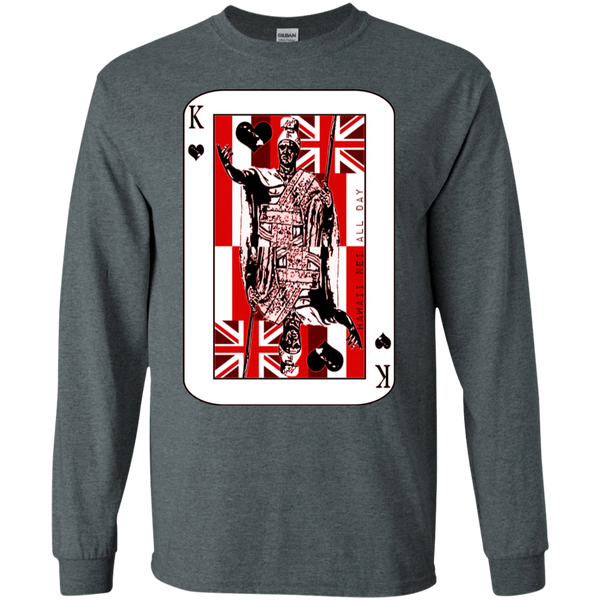 The King of Hawai'i Kamehameha (red ink) LS Ultra Cotton T-Shirt, T-Shirts, Hawaii Nei All Day