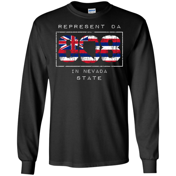 Represent Da 808 In Nevada State LS Ultra Cotton Tshirt - Hawaii Nei All Day