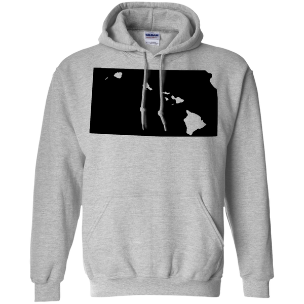 Living in Kansas with Hawaii Roots Pullover Hoodie 8 oz., Sweatshirts, Hawaii Nei All Day