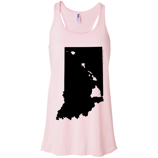Living in Indiana with Hawaii Roots Bella + Canvas Flowy Racerback Tank, T-Shirts, Hawaii Nei All Day