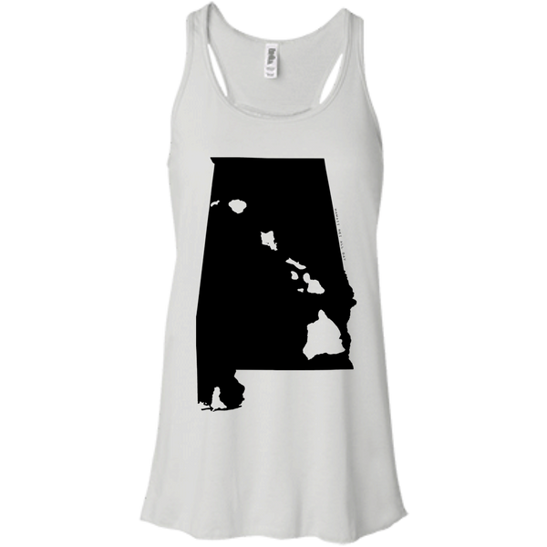 Living in Alabama with Hawaii Roots Bella + Canvas Flowy Racerback Tank, T-Shirts, Hawaii Nei All Day