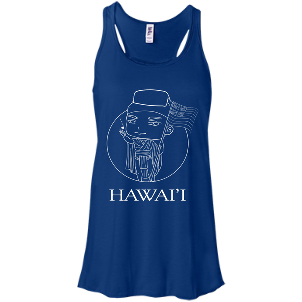 Hawai'i (chibi style King Kamehameha) Bella+Canvas Flowy Racerback Tank, , Hawaii Nei All Day, Hawaii Clothing Brands