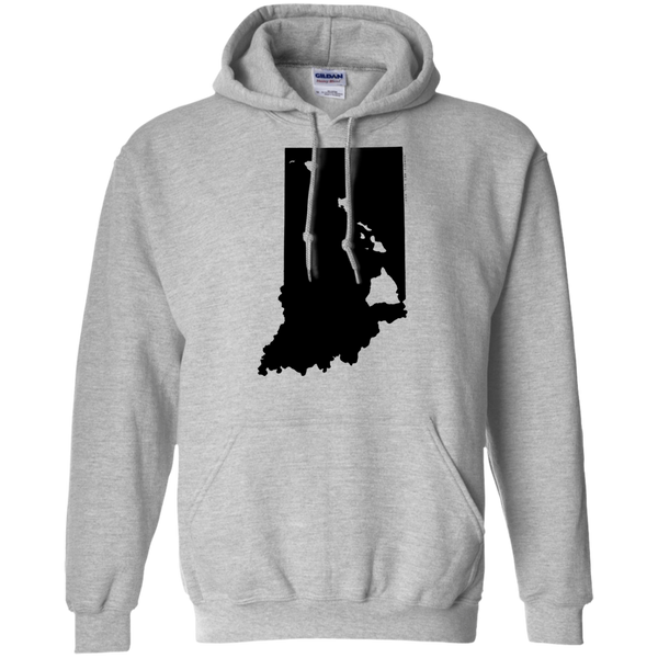 Living in Indiana with Hawaii Roots Pullover Hoodie 8 oz., Sweatshirts, Hawaii Nei All Day