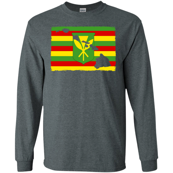 Hawai'i Kanaka Maoli Flag LS Ultra Cotton T-Shirt, T-Shirts, Hawaii Nei All Day