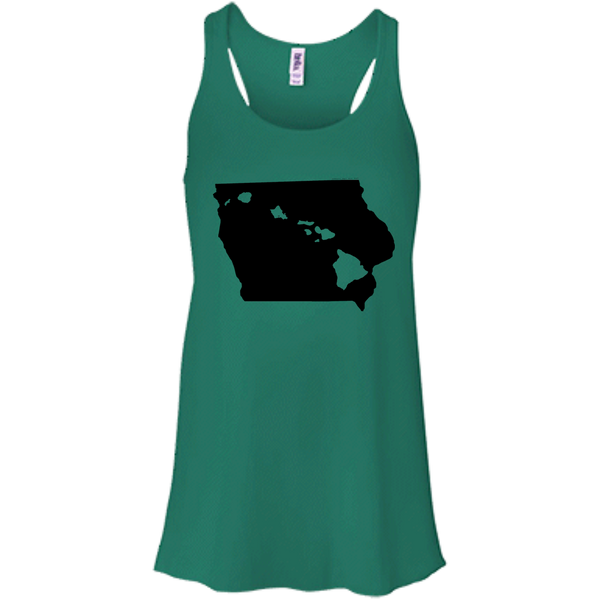 Living in Iowa with Hawaii Roots Bella + Canvas Flowy Racerback Tank, T-Shirts, Hawaii Nei All Day