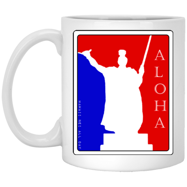 Aloha Spirit King Kamehameha 11 oz. White Mug, Drinkware, Hawaii Nei All Day, Hawaii Clothing Brands