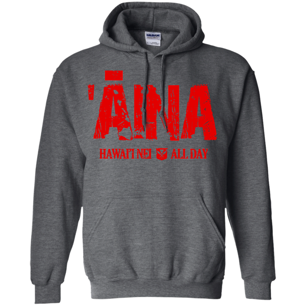 Aina Hawai'i Nei All Day (red ink) Pullover Hoodie 8 oz., Sweatshirts, Hawaii Nei All Day, Hawaii Clothing Brands
