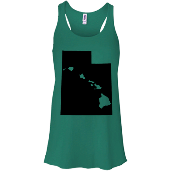 Living in Utah with Hawaii Roots Bella + Canvas Flowy Racerback Tank, T-Shirts, Hawaii Nei All Day, Hawaii Clothing Brands