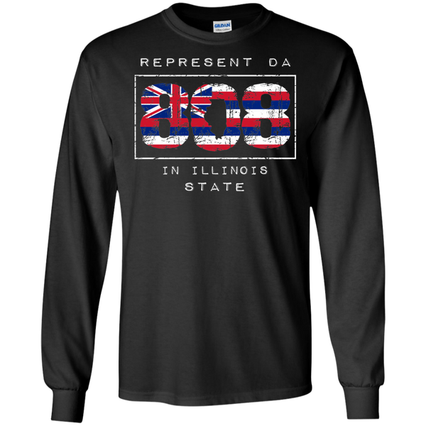 Rep Da 808 In Illinois State LS Ultra Cotton T-Shirt, T-Shirts, Hawaii Nei All Day