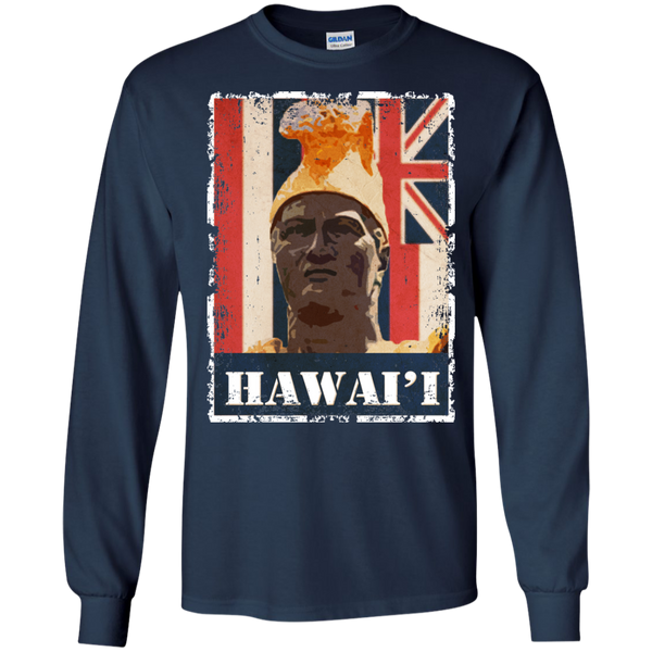Hawai'i King Kamehameha LS Ultra Cotton Tshirt, Long Sleeve, Hawaii Nei All Day, Hawaii Clothing Brands
