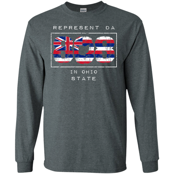 Rep Da 808 In Ohio State LS Ultra Cotton T-Shirt, T-Shirts, Hawaii Nei All Day
